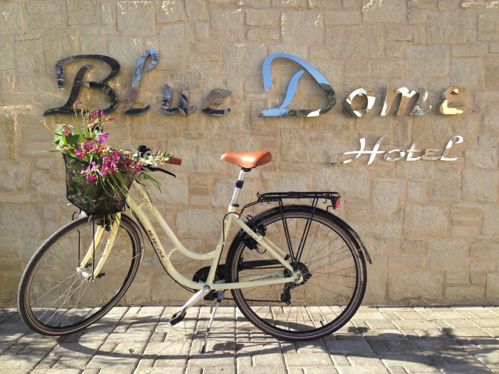 Bicycle friendly hotel. Free bicycles for the Blue Dome Hotel's guests in the village of Platanias, Chania, Crete island